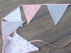 guirlande fanions tissus unis pois étoiles : Chambre d'enfant, de bébé par 2-mains-crea