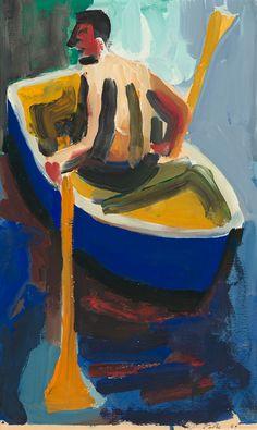 "David Park, ""Man in Rowboat"" courtesy Helen Park Bigelow, Natalie Park Schutz and Hackett Mill, San Francisco. Richard Diebenkorn, Helen Park, Wayne Thiebaud, Gouache Painting, Painting & Drawing, David Park, Bay Area Figurative Movement, Figurative Kunst, San Francisco Art"