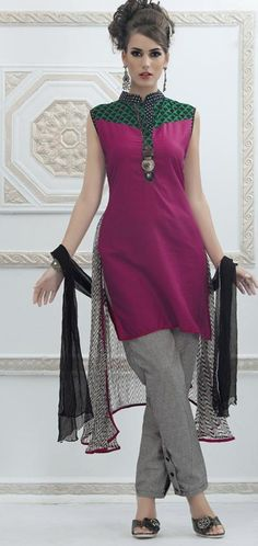 $71.32 Pink Thread Work Chanderi Silk Salwar Kameez 23870