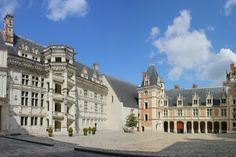 The construction  of Chateau de Blois began when Francis I was king during the French Renaissance. The most popular feature of this castle is the double helix staircase. It was thought to have been designed by Leonardo Da Vinci, and if someone is walking up the stairs, you would not be able to see someone walking down the stairs at the same time.