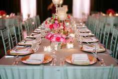 Great combination of pastels with a few brights for a romantic, vintage-inspired table