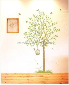 Nature Tree With Birds Wall Decals– WallDecalMall.com