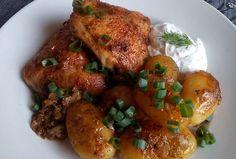 Kuře na bramborách z remosky Chicken Wings, Meat, Food, Meals, Buffalo Wings
