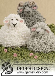 DROPS Design - Crochet sheep with loop sts: Free patterns for Shaun the lamb, Dolly the ewe, and Big Billy the ram - Totally adorable! Crochet Sheep, Beau Crochet, Crochet Mignon, Crochet Amigurumi, Easter Crochet, Love Crochet, Crochet For Kids, Beautiful Crochet, Amigurumi Patterns