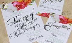 Flourishing Bouquet Wedding Invitation Sample Set - Wedding party invitations (*Amazon Partner-Link)