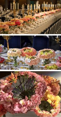Life3 - Nobelprize banquet in Stockholm. Some 15000 stems of carnations, gloriosa, orchids and more where used. The head table was decorated with over 100 bouquets and 50 floral medals. The Nobelprizemedal being the inspiration and its gold colour the colour spectra. https://www.facebook.com/lifethree/photos/pcb.421543324705643/421540391372603/?type=3&theater