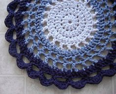 Blue Ombre Crochet Rug Recycled Tshirts