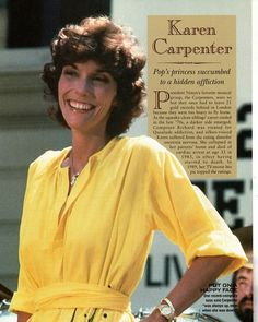drums and hear her sing, it was perfectly okay! Karen Anne Carpenter, born: March 1950 – Passed away on: February Whát a waste, whát a loss. Karen Carpenter Death, Richard Carpenter, Karen Richards, Gone Girl, Aretha Franklin, People Magazine, Old Tv, Female Singers, Celebs