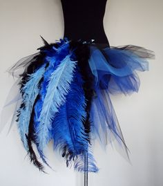 GREAT HALLOWEEN SKIRT.    Royal Blue Peacock Burlesque Tutu skirt size 4 by thetutustoreuk