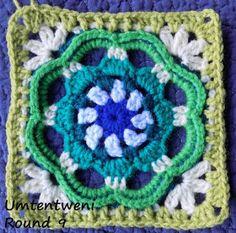 Zooty Owl: Umtentweni Square - free crochet pattern. Square 4 of the Seaside Winter Blanket CAL by Zelna Olivier.