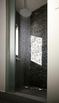Master bathroom's shower Master Bathroom Shower, Beachfront Property, Luxury Villa, Country Chic, Wall Lights, Interiors, Shower Ideas, House, Furniture