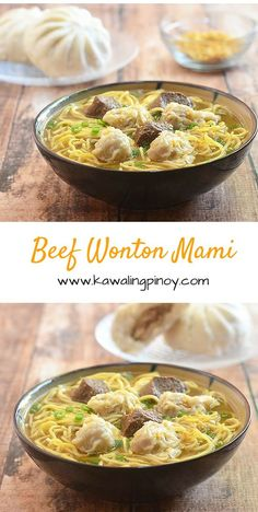 Made with tender beef, dumplings and fresh egg noodles in a delicious, flavor-packed broth, this beef wonton mami soup is comfort food at its best Wonton Noodle Soup, Wonton Noodles, Egg Noodles, Noodle Soups, Beef Casserole Recipes, Beef Recipes, Soup Recipes, Cooking Recipes, Recipies