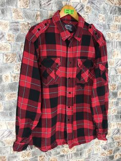 Excited to share this item from my #etsy shop: Vintage Flannel Shirt Men/Women Xlarge Plaid Tartan Checkered Red Black Hipster Minimalist Grunge Oxfords Button Up Size XL #westernflannel #womenflannelshirt #rusticflannel #grungeflannelshirt #eclecticgrunge #plaidcheckered #oldflannel #menflannelshirt #hipsterflannel
