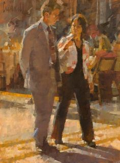 """Man and woman walking in the Galleria Vittorio Emanuele II, Milano. 16"""" x 12"""" canvas panel."""