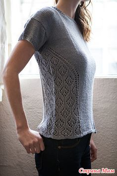 knitting designs Aerial View Top Knitting pattern by Irina Anikeeva Sweater Knitting Patterns, Lace Knitting, Knitting Stitches, Knitting Designs, Knit Patterns, Knit Crochet, Free Crochet, Summer Knitting, Sweaters For Women