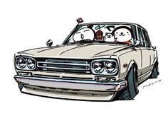 "CRAZY CAR ART ""PGC10 HAKOSUKA"" original cartoon ""mame mame rock"" / © ozizo + Official web shop ""STAY CRAZY (in Society6)"" https://society6.com/mame_ozizo + Official web shop ""ozizo(in..."
