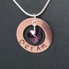 This gorgeous necklace can be personalised to say anything you like, with any colour heart! I also have aluminium and brass circles to stamp onto, and number stamps too! Stamped Dream Necklace Copper and Silver by WillowbrookArtistry, £15.00