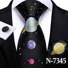 Black Planet, Novelty Ties, Cufflink Set, Tie Set, Tie And Pocket Square, Stripes Fashion, Silk Ties, Colorful Shirts, Man Shop