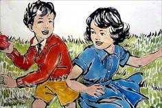 DAVID BROMLEY Children Series  Playtime  Polymer Painting 79cm x 119cm