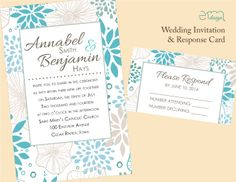 Blue & Gray Floral Wedding Invitation and Response Card by EmDesign.
