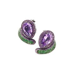 """Vernissage"" Amethyst Earrings by Mattioli ~ Amethysts totaling 10.55ct, purple sapphires, tsavorites and 18k black gold"