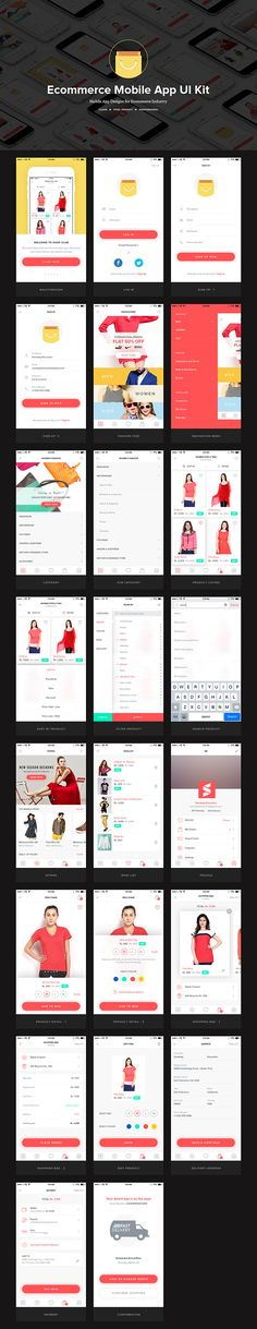 UI kit for ecommerce mobile app - Full preview