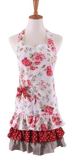Floral Rose Retro Vintage Hostess Apron (SALE: $10.99) ... #wedding #gift