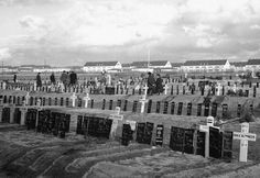 The new cemetery at Belsen, Germany on March 28, 1946, where 13,000 people who died after Belsen Concentration Camp was liberated are buried.
