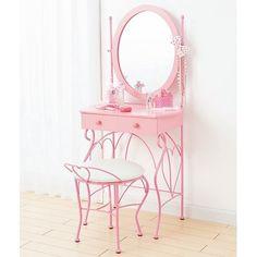 Chabby Chic Corner Makeup Vanity | pink # mirror # pretty
