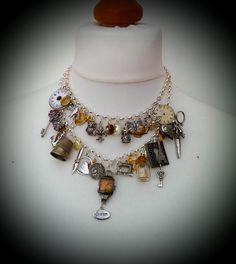 Vintage assemblage statement charm necklace silver layered Junkyard Angel #5