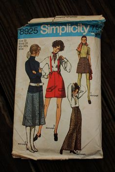 Simplicity 8925 1970s 70s Skirt with Suspenders  Vintage Sewing Pattern Size 10 Waist 24