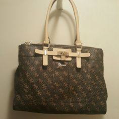 Authentic Guess Handbag FIRM PRICE G's PVC vinyl material in good used condition 14 x 10 Brown is the color inside has a little dirt Guess Bags Shoulder Bags