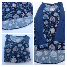 30% OFF BUNDLES Flower Top (NWOT) Blue top with flowers. Has half sleeves. Hi-Low hi in front low in back. NWOT. PRICE FIRM UNLESS BUNDLED 2+ 30% OFF Attention Tops Blouses