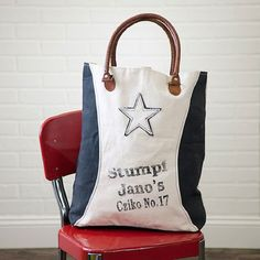 "Recycled Canvas Tote Bag - Classic Two Tone with ""Black Star"" Design RECYCLE #Recycle"
