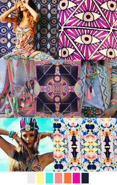 ELECTRO BOHO - TRENDS S/S 17. For spring and summer 2017 electro boho will be the trending theme. This includes a lot of patterns and a variety of colors. The colors include white, yellow, blues, pinks, oranges, and black. -Jordyn B.
