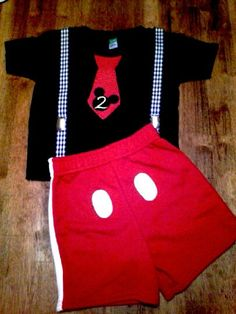 $40. Mickey Mouse inspired outfit, Black Mickey Mouse Shirt with Tie and shorts, Mickey Mouse Birthday outfit, Boys Birthday outfit