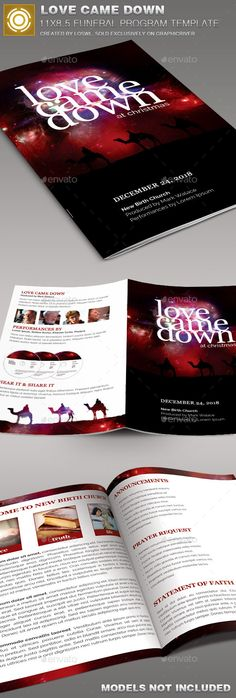 Love Came Down Church Bulletin Template is sold exclusively on graphicriver, it is especially designed for Churches but can be used for many other events, the file is easy to edit and contains 5-One Click Color Options.