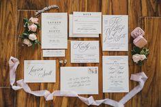 Elegant wedding invitations - classic wedding invitations with elegant calligraphy - See Scott and Lauren's full gallery on WeddingWire! {Stephanie W. Photography}