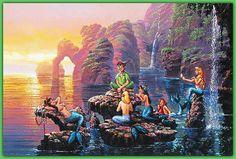 Original ACEO Rodel Gonzales reproduction Mermaid Lagoon Peter Pan Walt Disney Landscape Sunset M. Disney Kunst, Arte Disney, Disney Magic, Thomas Kinkade Disney, Peter Pan Disney, Disney Artwork, Disney Drawings, Disney Animation, Disney And Dreamworks