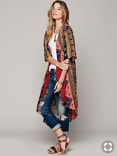 Free People Novella Royale Short Sleeve Printed Maxi Duster and other apparel, accessories and trends. Browse and shop related looks. Kimono Outfit, Kimono Fashion, Women's Fashion Dresses, Denim Fashion, Fashion Shoes, Fashion Over 40, Look Fashion, Hippie Fashion, Fall Fashion