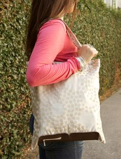 Large Tan Polka Dot Grocery Shopping Bag by WellnessByHelen, $28.00