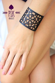 HOT PRICE!! Leather Bracelet cuff, Leather Cuff, Ladies Leather Bracelets, Black Leather no11