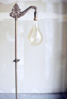 Vintage Industrial Table Lamp - Sconce Lighting w/Smile Light Bulb ...
