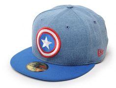 Captain America Denim Hero 59Fifty Fitted Baseball Cap by MARVEL x NEW ERA