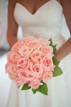 bridal bouquet; Meaghan Elliott Photography via Artfully Wed #CoralWeddingIdeas