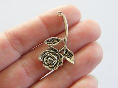 6 Rose pendants 35 x 20mm tibetan silver by nicoledebruin on Etsy, $2.50 - Beauty and the Beast