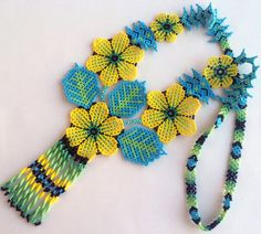Mexican Huichol Beaded Yellow Flower Necklace Mexican necklace – Mexican Jewelry – Huichol Necklace – Huichol beadwork Mexikanische Huichol Perlen Blume Halskette by Aramara on Etsy Beading Patterns, Flower Patterns, Flower Necklace, Crochet Necklace, Collar Redondo, Mexican Jewelry, Peyote Beading, Handmade Beaded Jewelry, Beaded Flowers