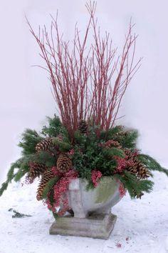Winter Container: Paper Birch Tips; Black Spruce; Paper Birch Stems; Norway Spruce Cones; Norway Pine; Sugar Pine Cones; Manzanita Branches