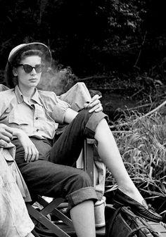 Lauren Bacall on the set of The African Queen, 1951