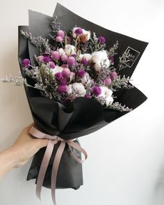 For purple and black addict How To Wrap Flowers, How To Preserve Flowers, Hand Bouquet, Floral Bouquets, My Flower, Dried Flowers, Flower Decorations, Flower Designs, Planting Flowers